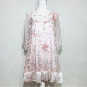 Fleur de Lis Tie Dye Slip Dress & Lace Overlay M